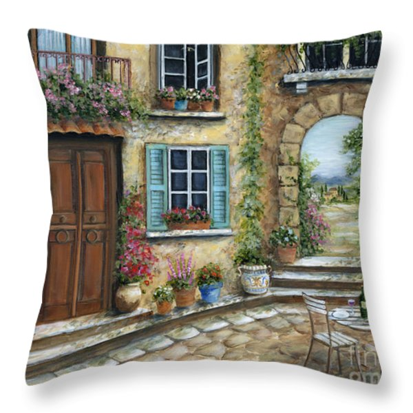 Romantic Tuscan Courtyard Throw Pillow by Marilyn Dunlap