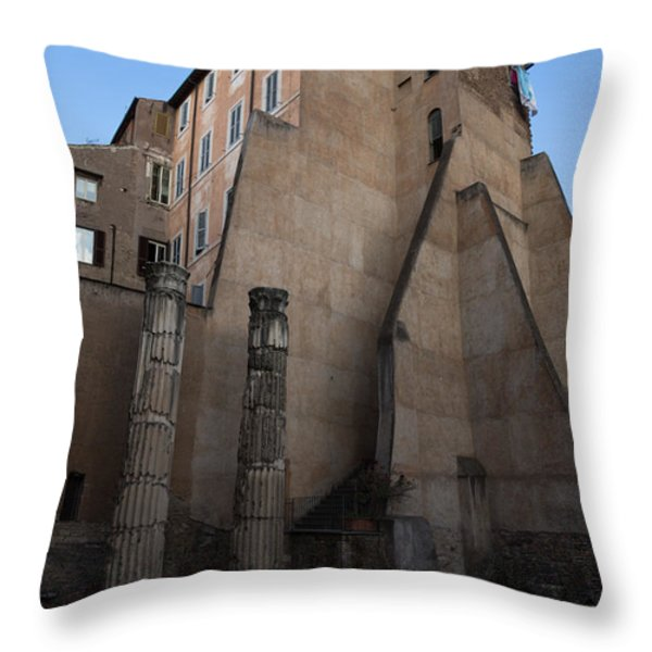 Rome - Centuries Of History And Architecture Throw Pillow by Georgia Mizuleva