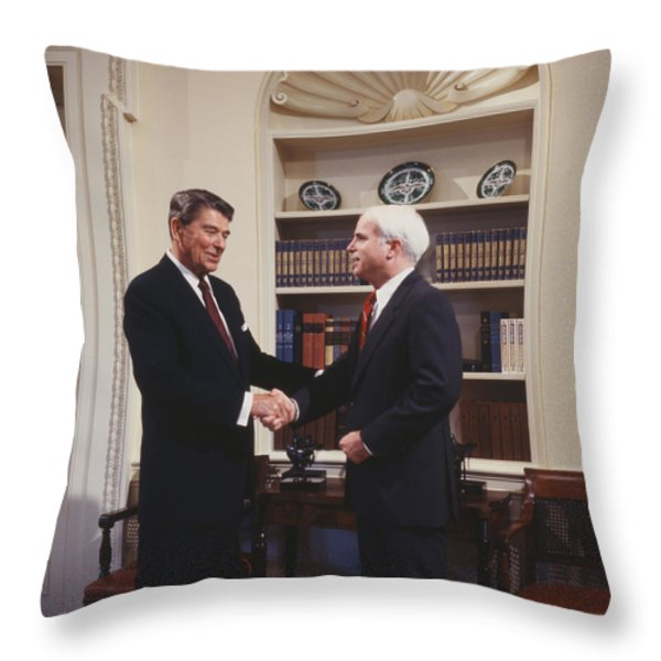 Ronald Reagan And John Mccain Throw Pillow by Carol Highsmith