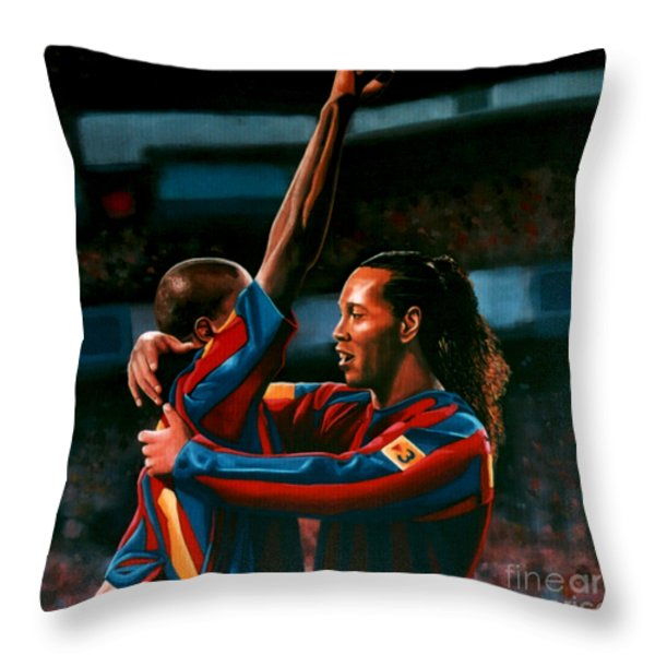 Ronaldinho and Eto'o Throw Pillow by Paul  Meijering