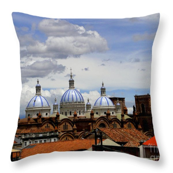 Rooftops Of Cuenca Throw Pillow by Al Bourassa
