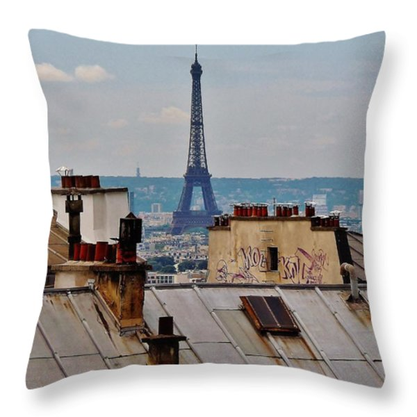 Rooftops of Paris and Eiffel Tower Throw Pillow by Marilyn Dunlap
