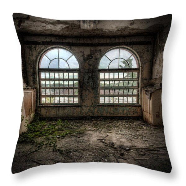 Room With Two Arched Windows Throw Pillow by Gary Heller