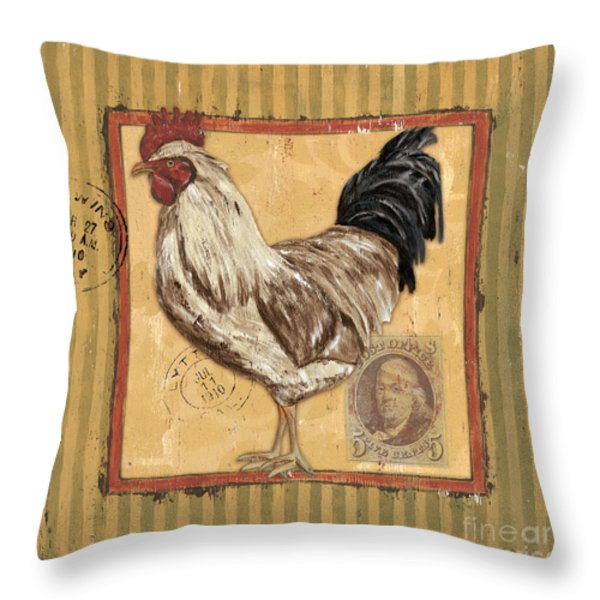 Rooster and Stripes Throw Pillow by Debbie DeWitt