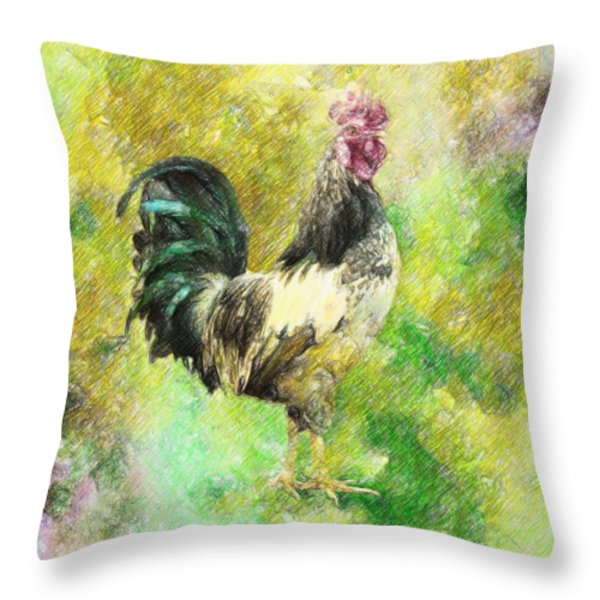 Rooster Throw Pillow by Taylan Soyturk