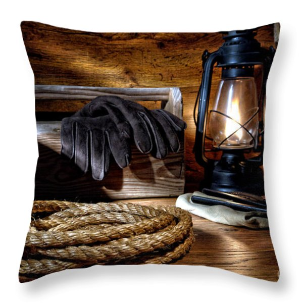 Rope In The Ranch Barn Throw Pillow by Olivier Le Queinec