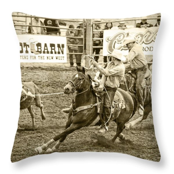 Roping Throw Pillow by Caitlyn  Grasso
