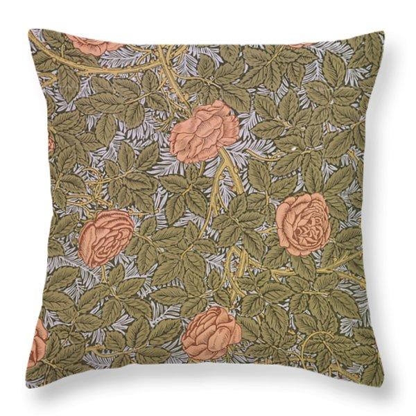 Rose 93 Wallpaper Design Throw Pillow by William Morris