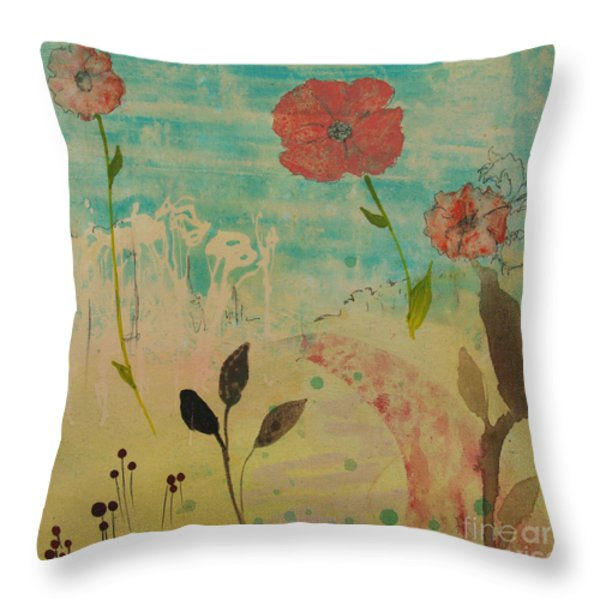 Rose Colored Path Throw Pillow by Robin Maria  Pedrero