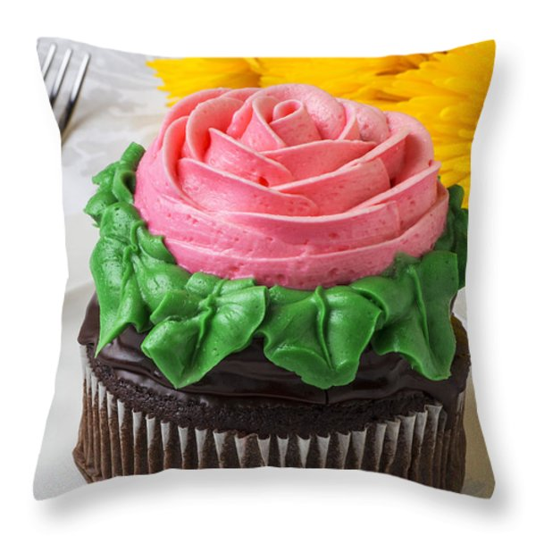 Rose cupcake Throw Pillow by Garry Gay