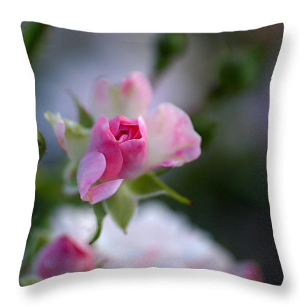 Rose Emergent Throw Pillow by Rona Black