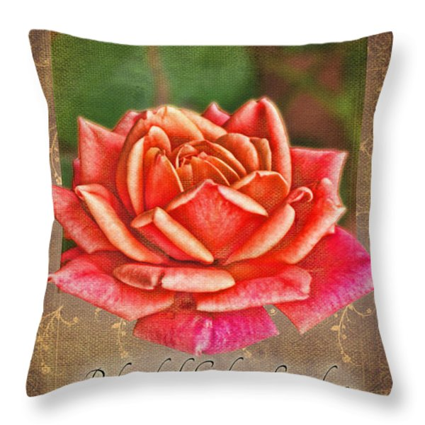 Rose Greeting Card With Verse Throw Pillow by Debbie Portwood