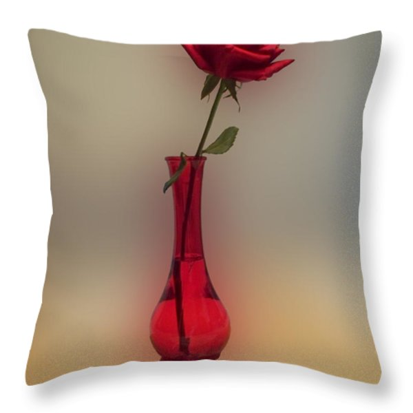 Rose in a Vase Throw Pillow by Thomas Woolworth