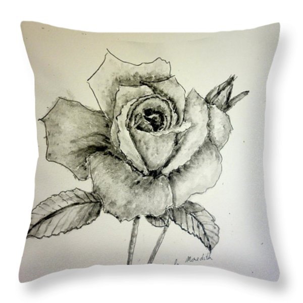 Rose In Monotone Throw Pillow by Pamela  Meredith