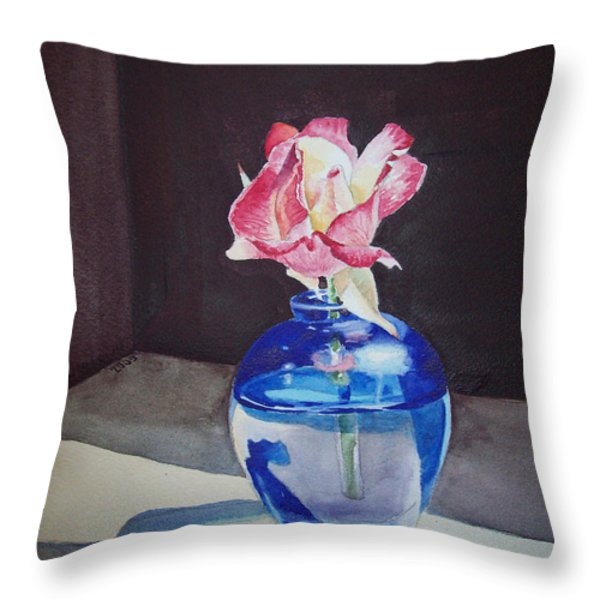 Rose In The Blue Vase II Throw Pillow by Irina Sztukowski