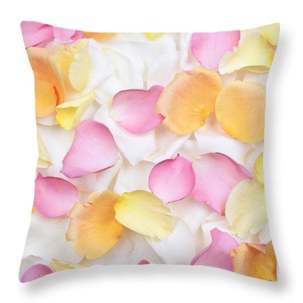 Rose petals background Throw Pillow by Elena Elisseeva