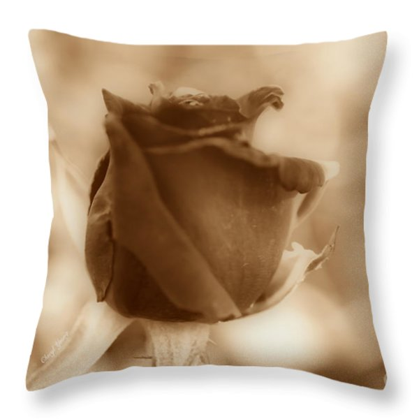 Rosebud Sepia Tone Throw Pillow by Cheryl Young