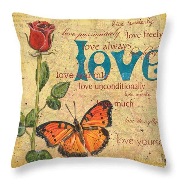 Roses and Butterflies 2 Throw Pillow by Debbie DeWitt