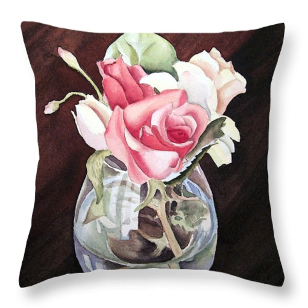Roses in the Glass Vase Throw Pillow by Irina Sztukowski