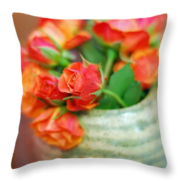 Roses Throw Pillow by Lisa  Phillips