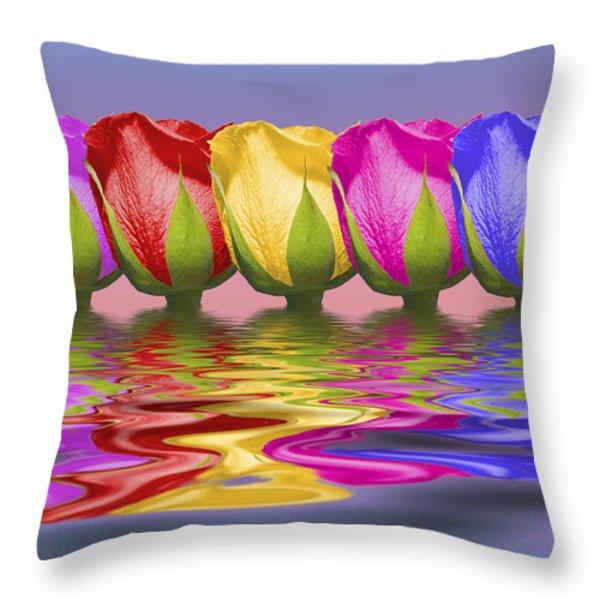 Roses Rising Throw Pillow by Tom Mc Nemar