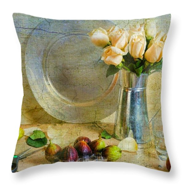 Roses with Figs Throw Pillow by Diana Angstadt