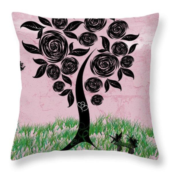 Rosey Posey Throw Pillow by Rhonda Barrett