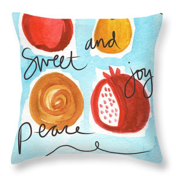 Rosh Hashanah Blessings Throw Pillow by Linda Woods