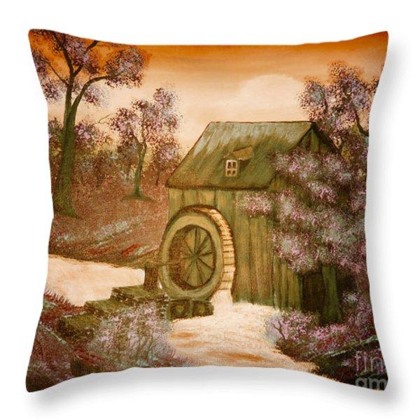 Ross's Watermill Throw Pillow by Barbara Griffin