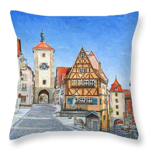Rothenburg Germany Throw Pillow by Mike Rabe