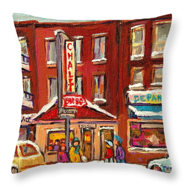 Rotisserie Le Chalet Bar B Q Sherbrooke West Montreal Winter City Scene Throw Pillow by Carole Spandau