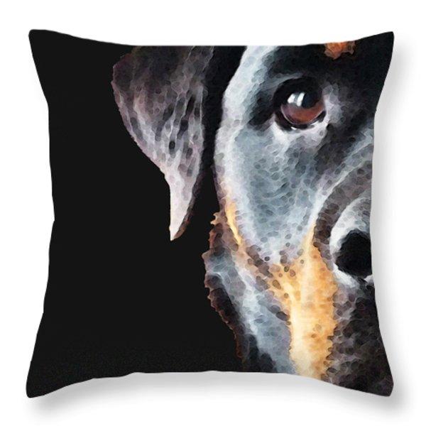 Rottie Love - Rottweiler Art By Sharon Cummings Throw Pillow by Sharon Cummings