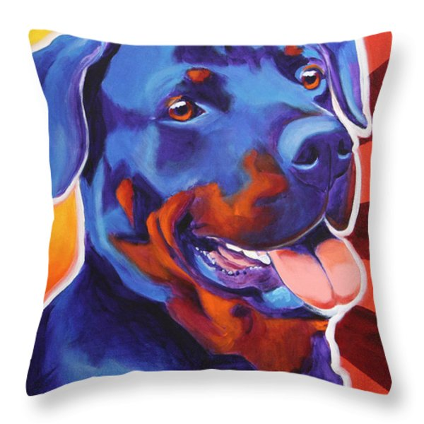 Rottweiler - Baloo Throw Pillow by Alicia VanNoy Call