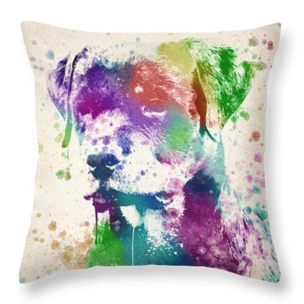 Rottweiler Splash Throw Pillow by Aged Pixel