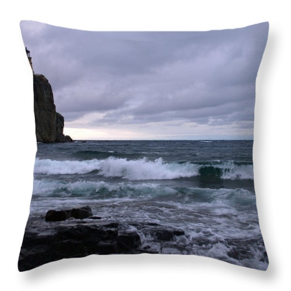 Rough Surf at Split Rock Throw Pillow by James Peterson