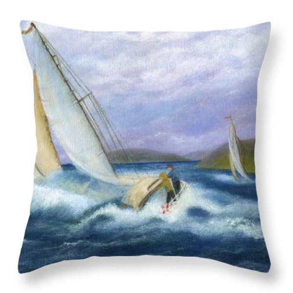 Rough Water Sailing Throw Pillow by Catherine Howard