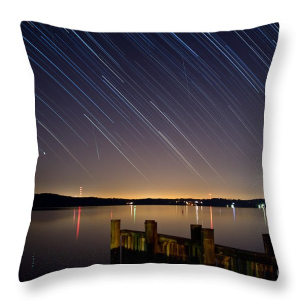 Round Bay Startrails and a Meteor Shower Throw Pillow by Benjamin Reed