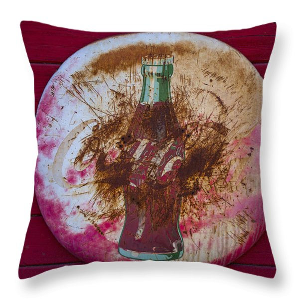 Round Coke Sign Throw Pillow by Garry Gay