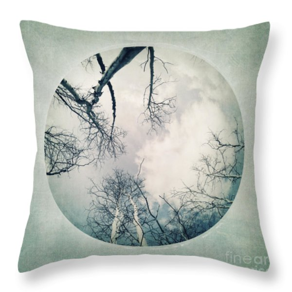 round treetops I Throw Pillow by Priska Wettstein