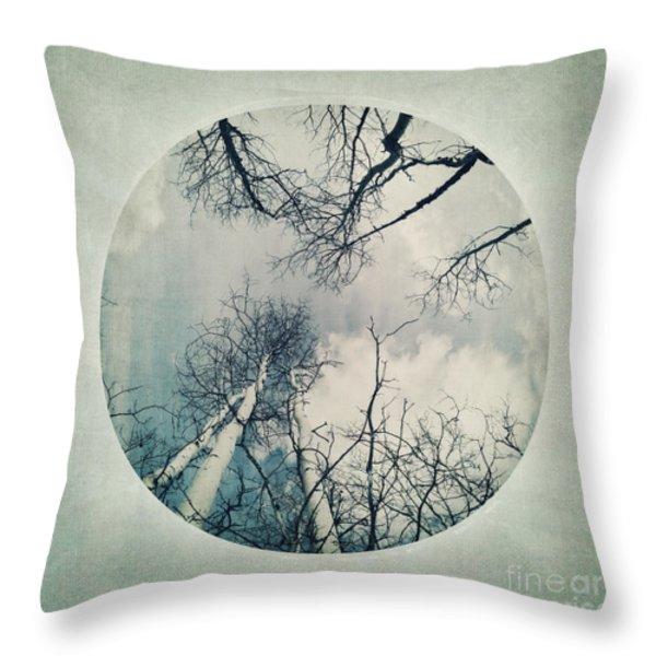 round treetops II Throw Pillow by Priska Wettstein