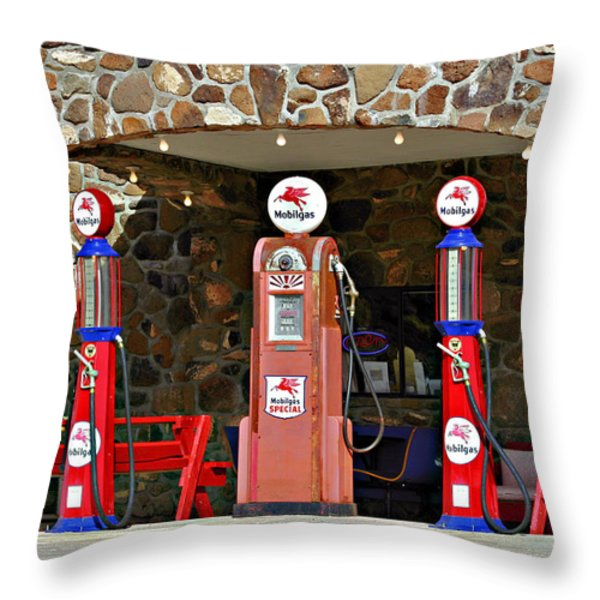 Route 66 - Cool Springs Camp AZ Throw Pillow by Christine Till