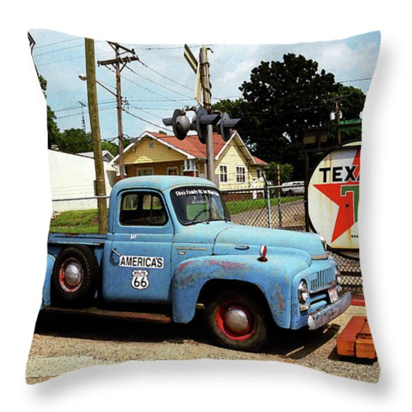 Route 66 - Gas Station With Watercolor Effect Throw Pillow by Frank Romeo