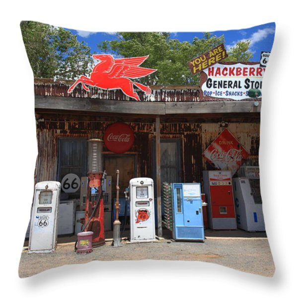 Route 66 - Hackberry General Store Throw Pillow by Frank Romeo