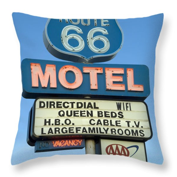 Route 66 Motel Sign 3 Throw Pillow by Bob Christopher