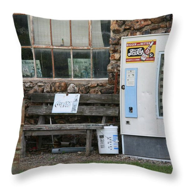 Route 66 Sinclair Gas Station Throw Pillow by Frank Romeo