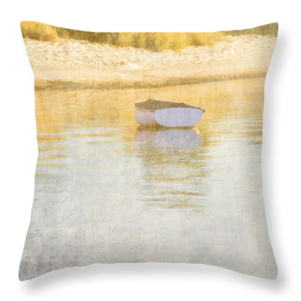 Rowboat In The Summer Sun Throw Pillow by Carol Leigh