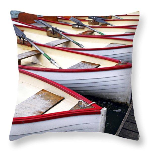 Rowboats Throw Pillow by Elena Elisseeva