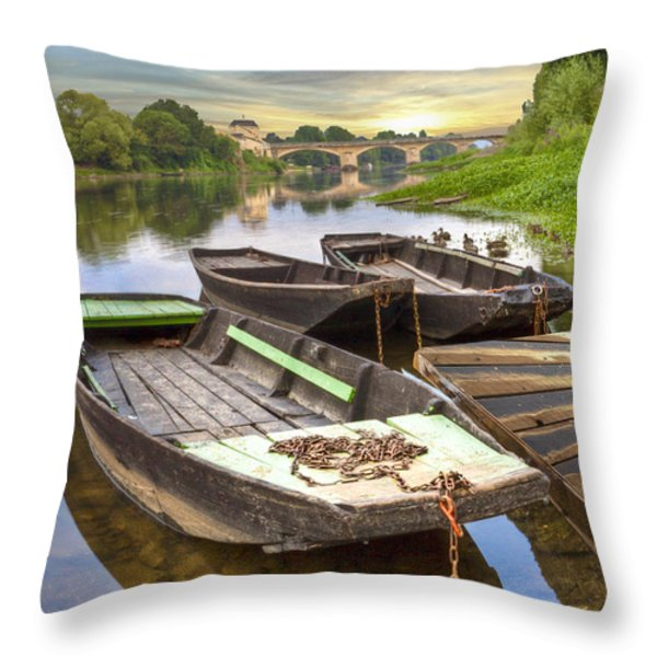 Rowboats on the French Canals Throw Pillow by Debra and Dave Vanderlaan