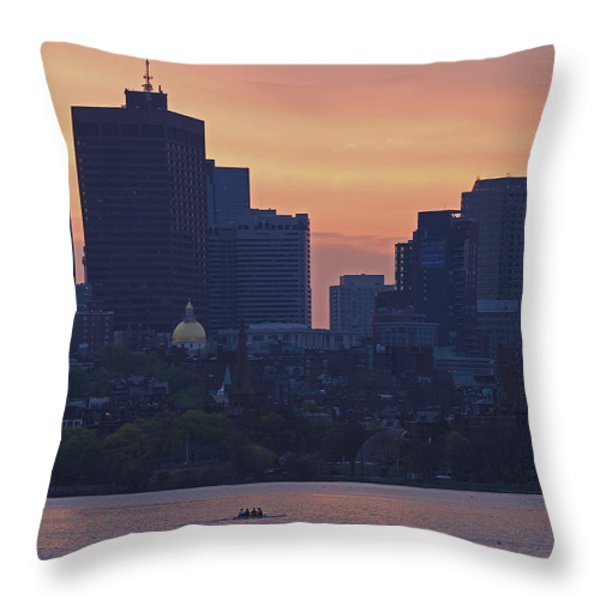 Rowing Boston Throw Pillow by Juergen Roth