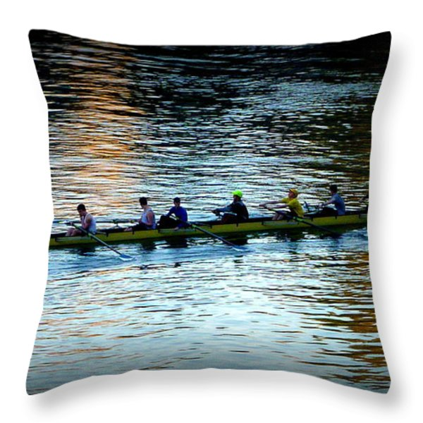 Rowing On The River Throw Pillow by Susan Garren